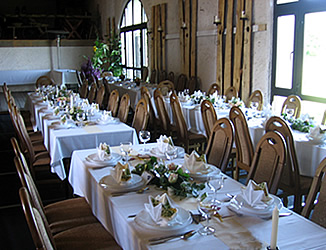 the barn is prepared for marrying-festivities